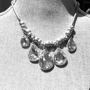 Silver and crystal Jewel necklace NWOT